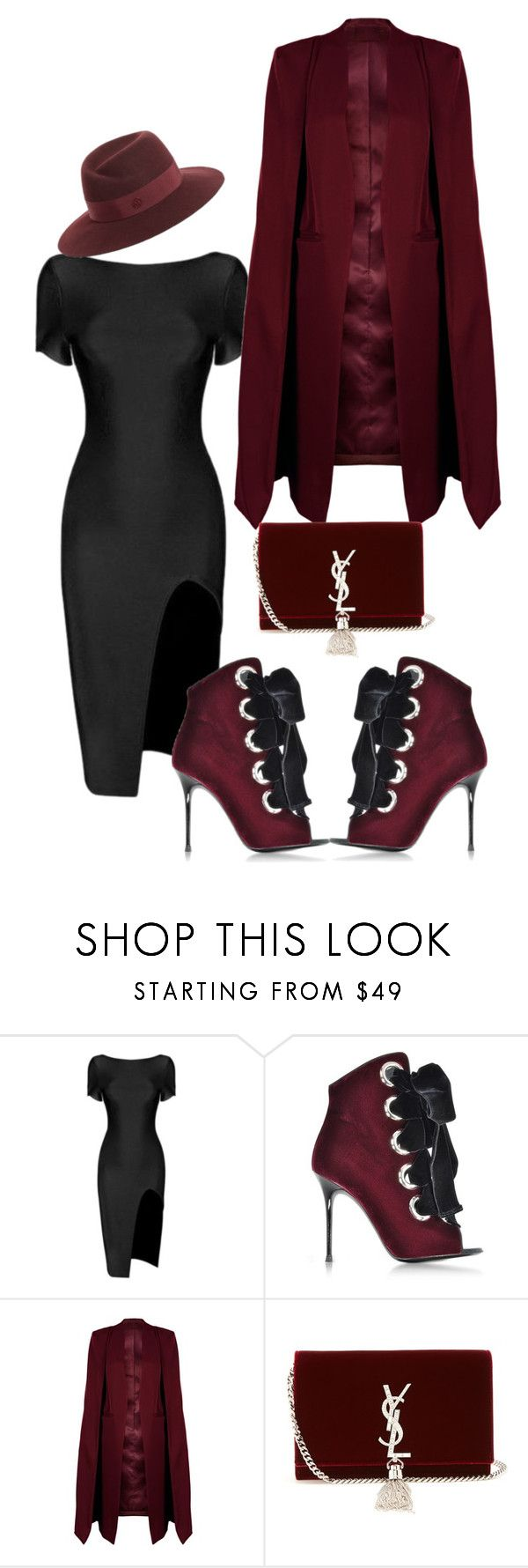 """Untitled #4489"" by styledbycharlieb ❤ liked on Polyvore featuring Giuseppe Zanotti, WithChic, Yves Saint Laurent and Maison Michel"