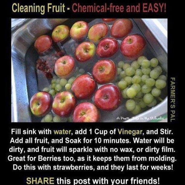 How to Clean Fruit - Vinegar and Water - Fill sink with water, add 1 cup vinegar soak for 10 Minutes - water will be dirty and fruit will sparkle No Wax -Great for berries keeps from molding strawberries last for weeks