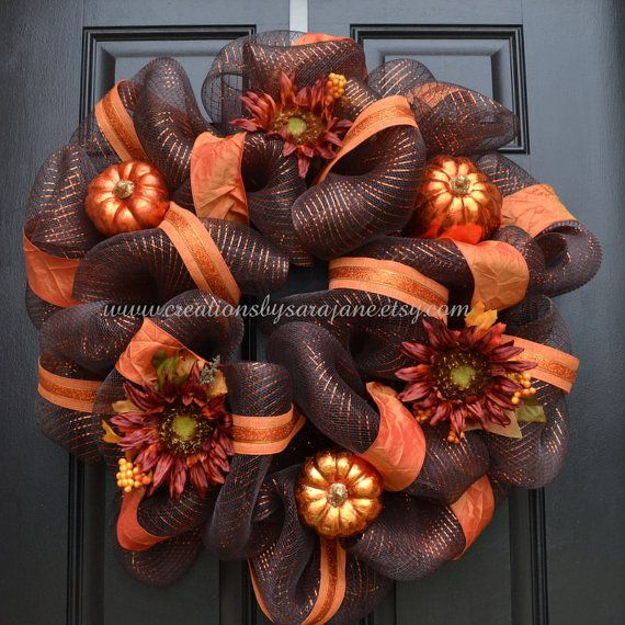 Fall Mesh Wreath  Fall Harvest Wreath with by CreationsbySaraJane