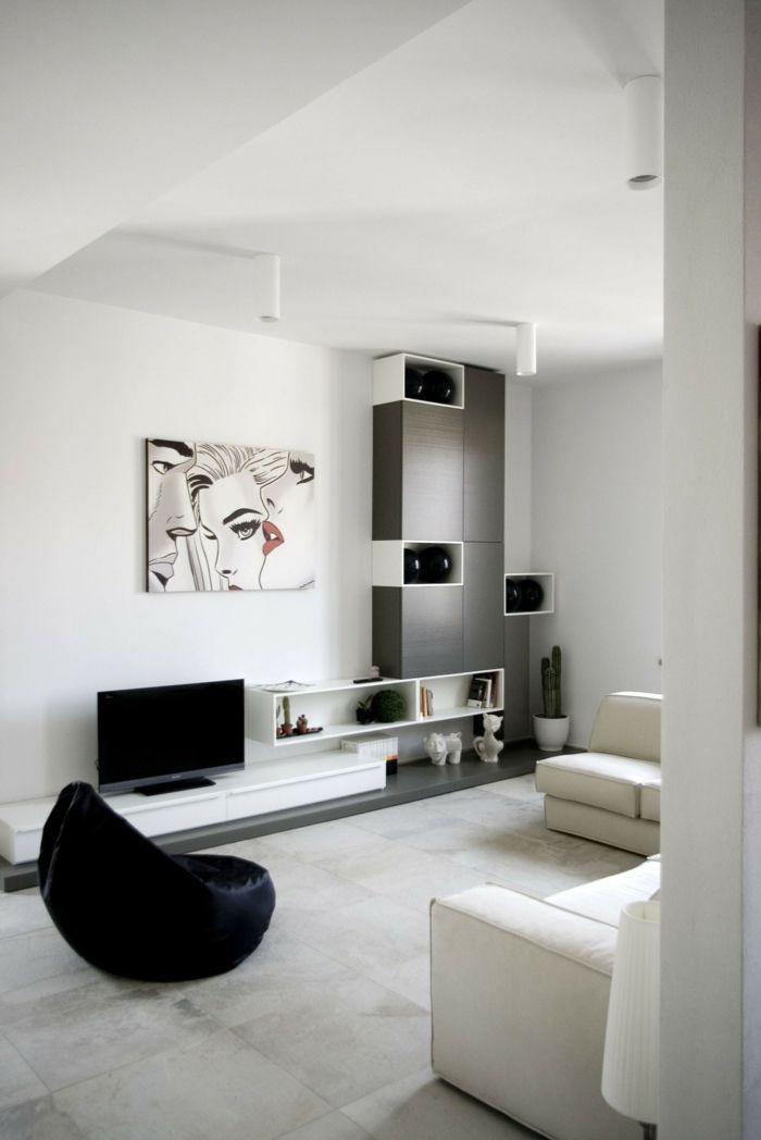 Simple Muster in Schwarz Wei wandgestaltung mit Farbe einrichtungsbeispiele schwarz wei wohnzimmer einrichten modern Pinterest