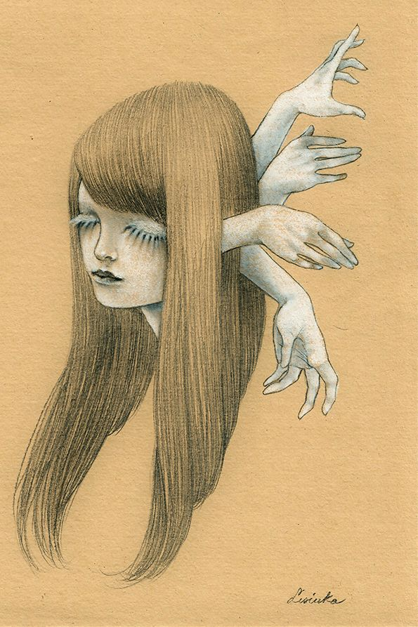 """""""Desire"""" for the 2016 Month of Fear challenge """"Wicked"""" by Lisinka graphite + white pencil on paper """"Suivez-moi. je vous attendais. Vous serez ma proie """" (Angela Carter - The Lady of the House of Love)"""