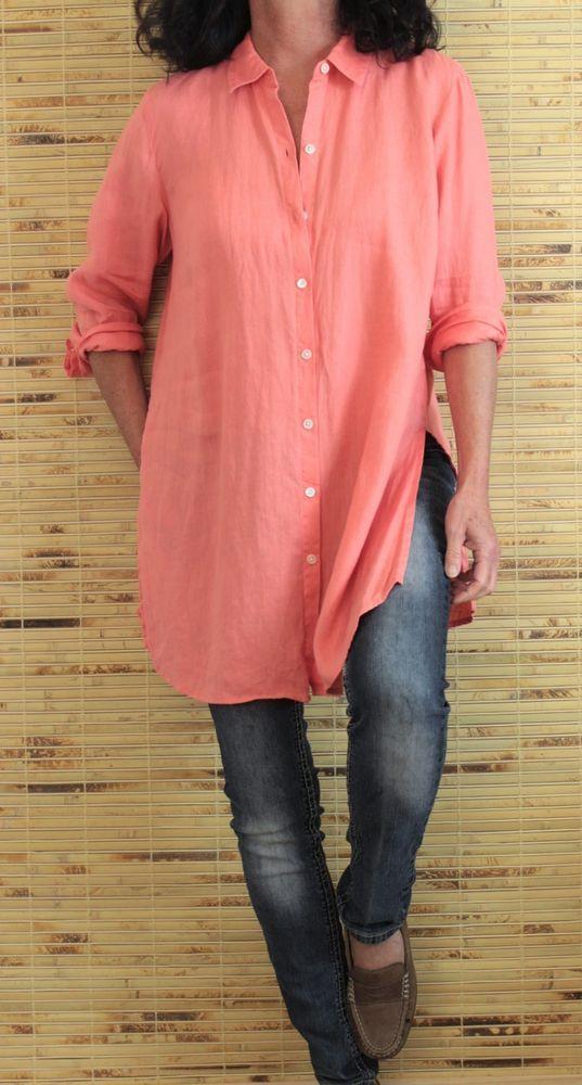 e53e819ac J Jill Love Linen 100% Linen L Sleeve Button Down Tunic Pink Sz M #JJill # Tunic #SzMsizetagisnotpresent