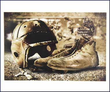 Poster Bsu Vintage Helmet & Shoes | Boise State Bronco Shop...intriguing mix.