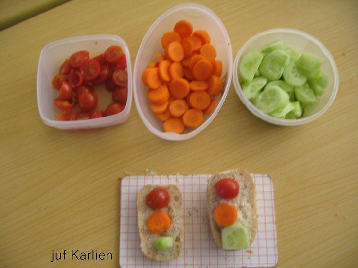 huishoudelijke activiteit in het thema verkeer: gezond verkeerslicht broodje