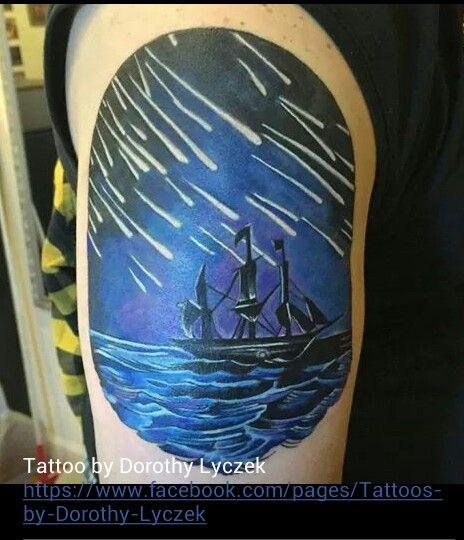 Ship and shooting stars tattoo