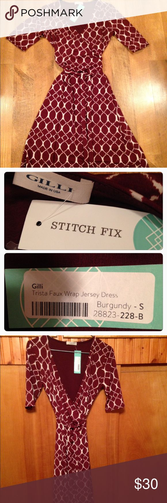 """Gilli Stitch Fix Faux wrap jersey dress Adorable and NWT Trista faux wrap jersey dress from Stitch Fix. Color is listed as burgundy, size is small, shoulder to hem is 38"""", width from armpit to armpit is Approximately 14"""" however this dress is 95% polyester 5%spandex, so there is stretch to it and the waist has a tie to tighten it. Please ask questions before purchasing Stitch Fix Dresses"""