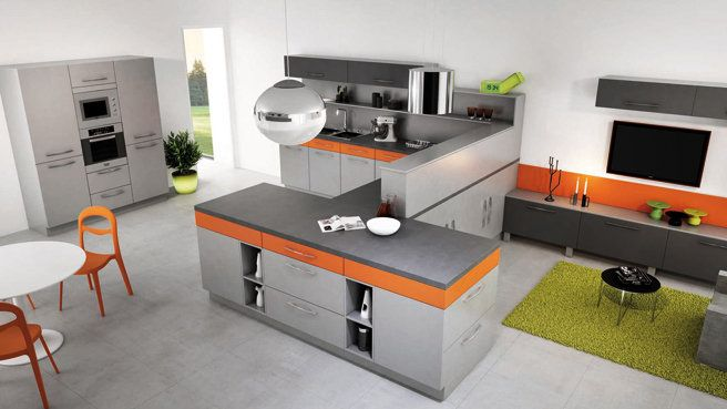 cuisine orange et grise wow inspiration nouvel appartement pinterest kitchens. Black Bedroom Furniture Sets. Home Design Ideas