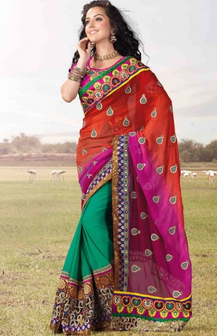 Multicolor Saree