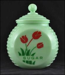 Jadeite Sugar Canister With Red Tulips