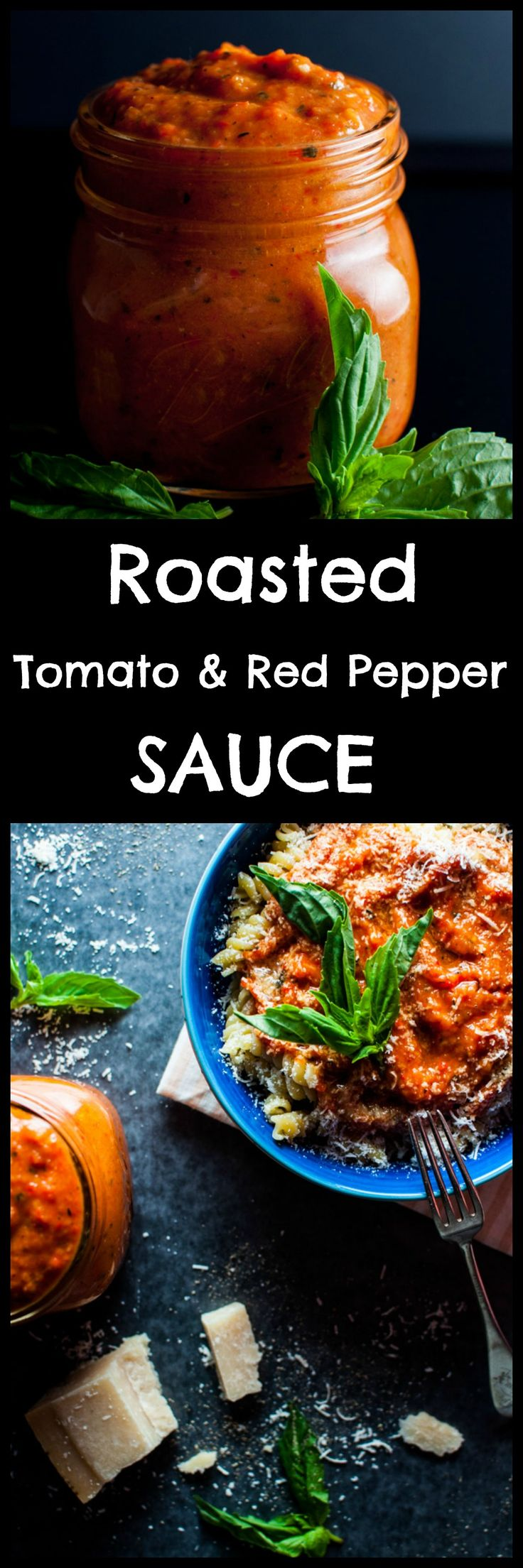 Roasted tomato and red pepper sauce – a versatile sauce that is simple to make, super flavorful, and can be used on pasta, pizza, or anywhere a tomato-based sauce is needed. Pin for later :)