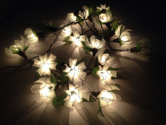 White Tone Ylangylang Flower Fairy String LightsIndoor String - Flower string lights for bedroom