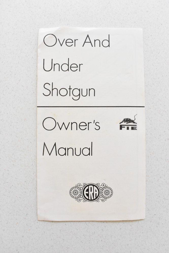 Details About Over Under Shotgun Owners Manual ERA Parts