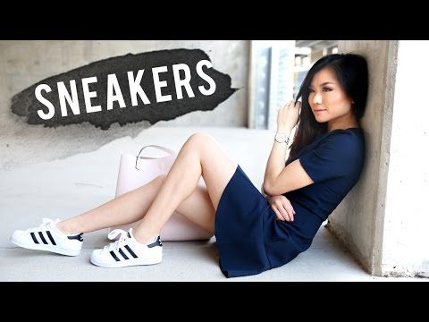 How to Wear Sneakers | Adidas Superstar Shoes Lookbook | Miss Louie - YouTube