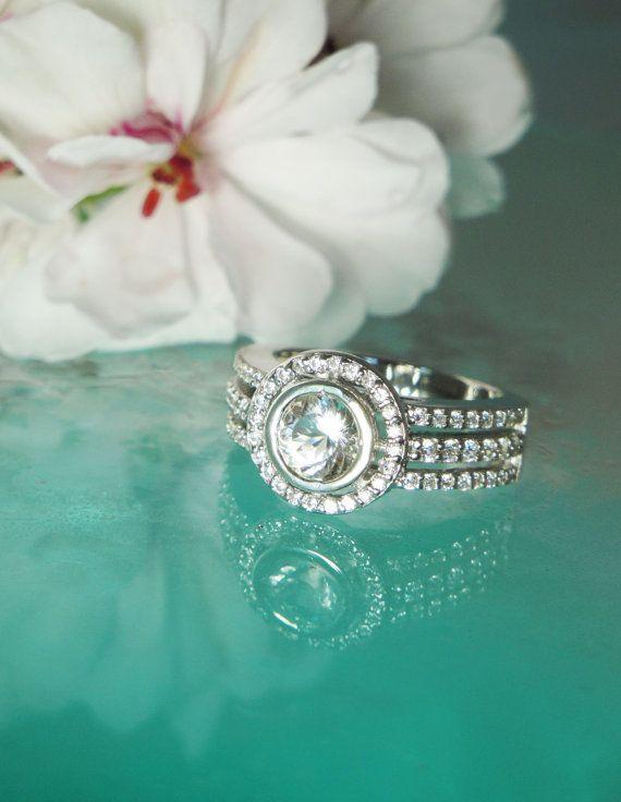 Herkimer Diamond and White Topaz Ring Bezel Set by greengem