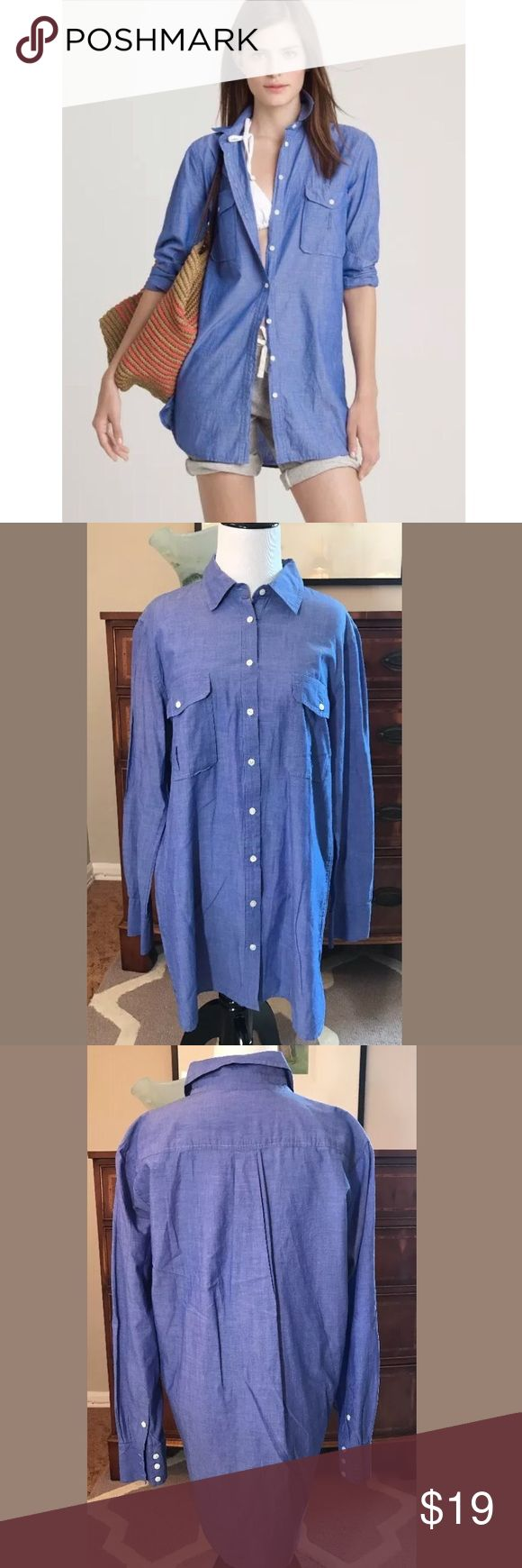 """J Crew Tomboy Tunic Button Down Shirt J Crew women's 'tomboy tunic.' Oversized Blue button-down shirt. 100% cotton. Ideal to wear as a swim cover-up or with leggings. Women's size Medium. 31"""" length 💕 J. Crew Swim Coverups"""