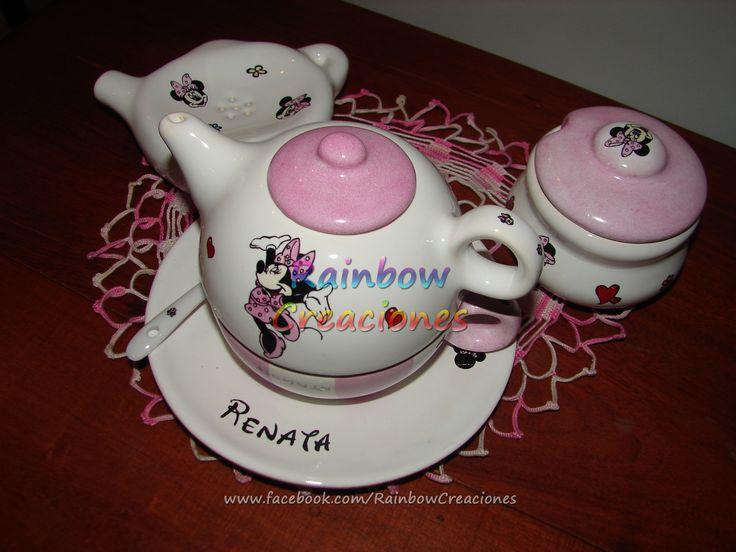 Set de té personalizado con la frase o imagen que quieras (fotos no, ya que son pintadas a mano, no es sublimación). Consultame por este u otros modelos en www.facebook.com/RainbowCreaciones