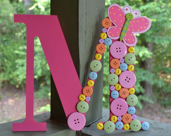 Baby Shower- Childrens Room Decor- Button Letter- Personalized- Butterfly Decor- Nursery Decor- Girls Room- Wooden Letters- Pastel Buttons-