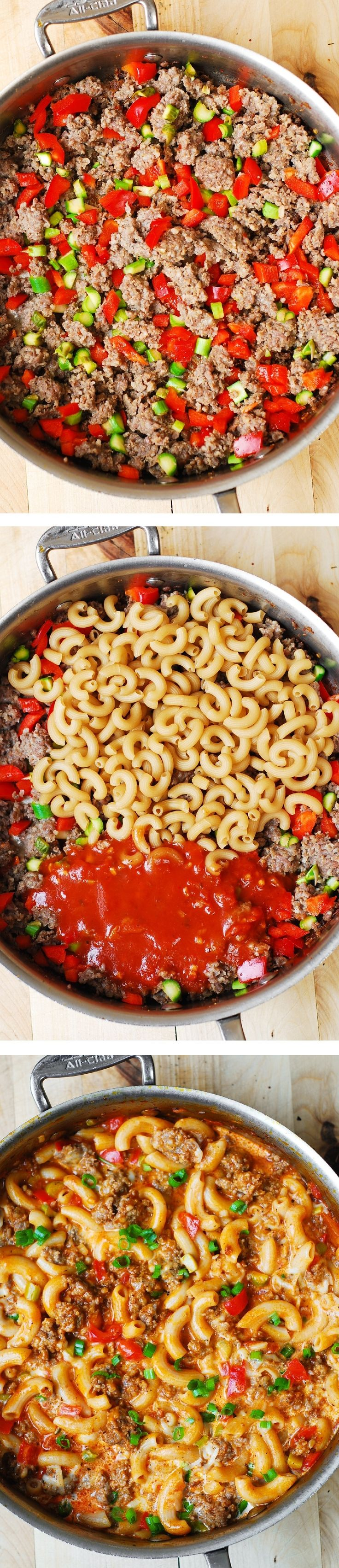 One-Skillet Mac and Cheese with Sausage and Bell Peppers, smothered in marinara sauce and cream. Everything is cooked in one skillet: sausage, bell peppers, and even pasta! Comfort food!