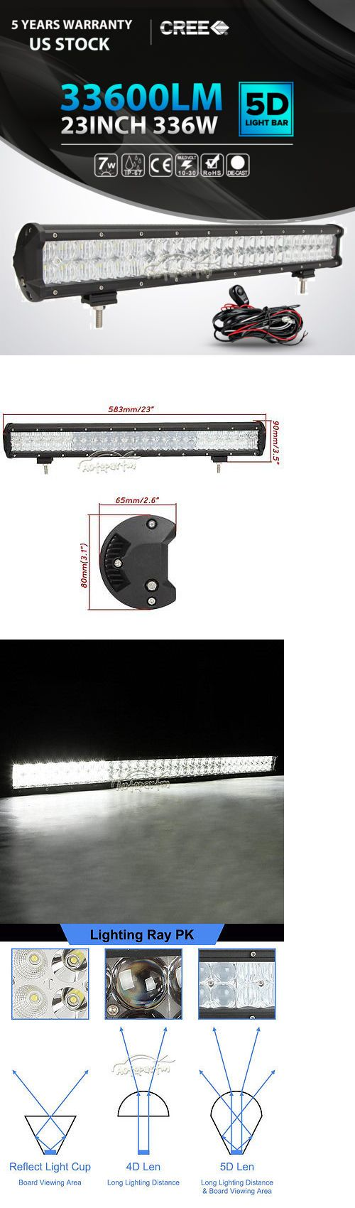 Car Lighting: 5D 23Inch 336W Led Light Bar Spot Flood Offroad Driving 4X4wd Truck 24 22 20 BUY IT NOW ONLY: $65.5
