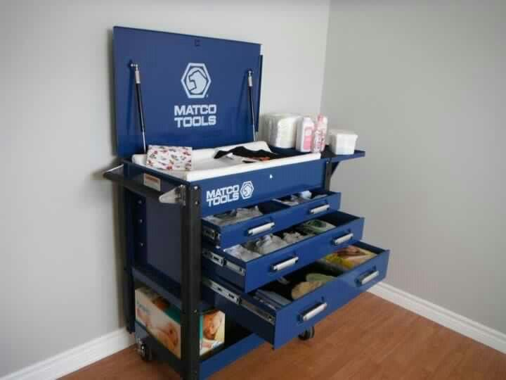 Tool box changing table; I'd take off the top lid and give it to him as his first tool box after he was old enough LOl