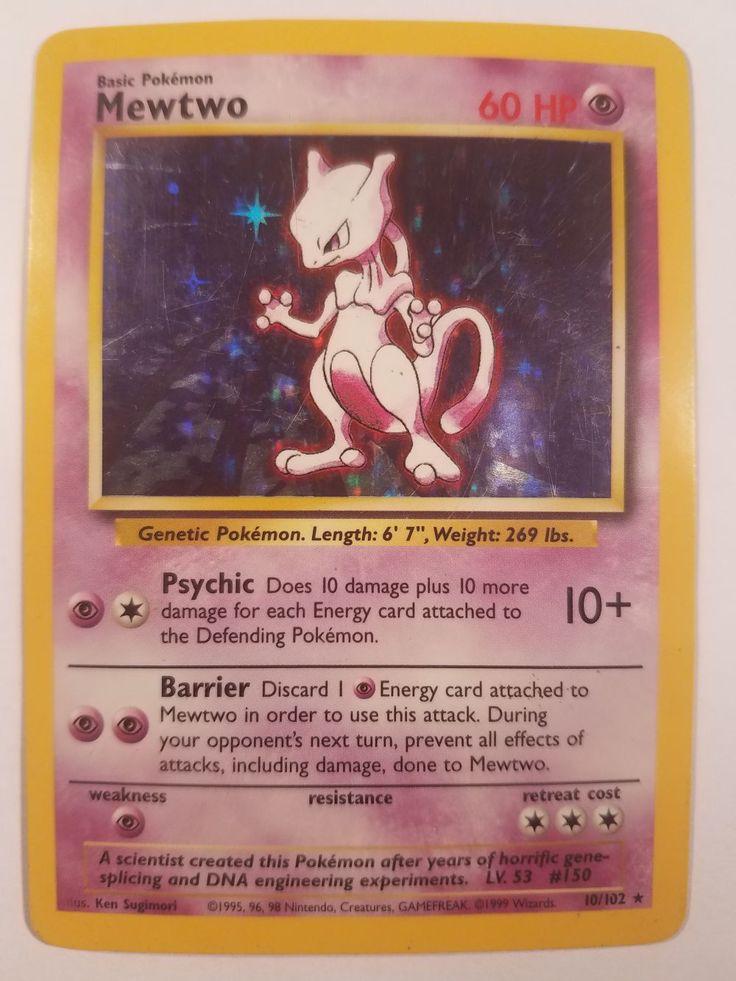Hp mewtwo holofoil 10102 original base set pokemon