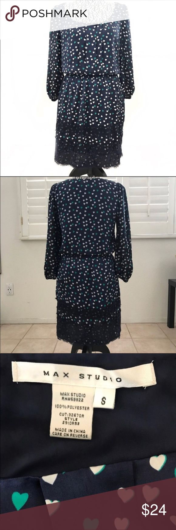 """Max Studio blue hearts dress Valentine's Day small Pit to pit 17"""" Sleeve 21"""" Shoulder 13.5"""" Top half length 15"""" Waist approx 28"""" Skirt half length 17""""  A-line silk feel dress, Valentine's Day date outfit Max Studio Dresses Long Sleeve"""