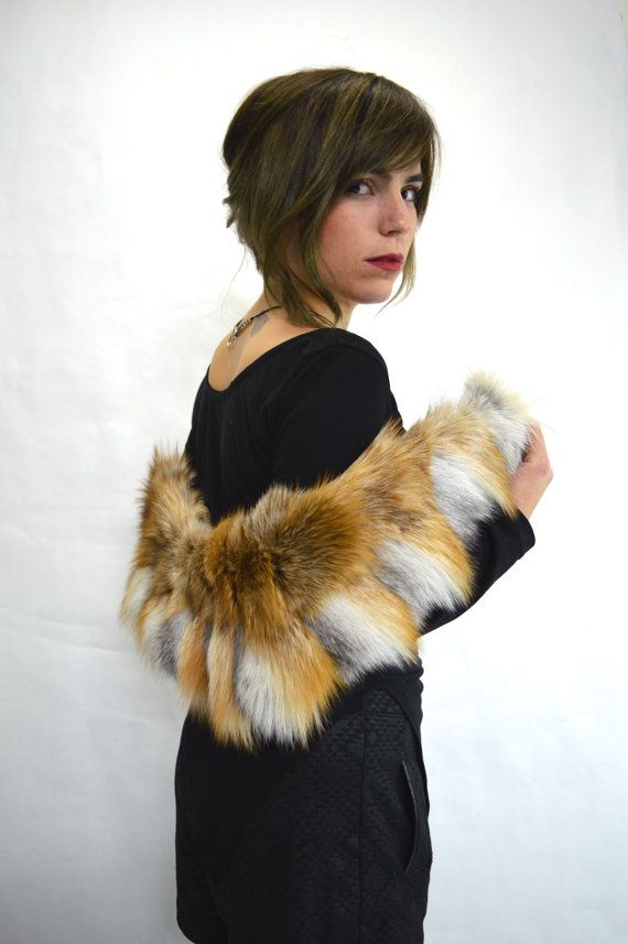 Real fur collar fox collar Smoky/red fox fur collar. by BeFur