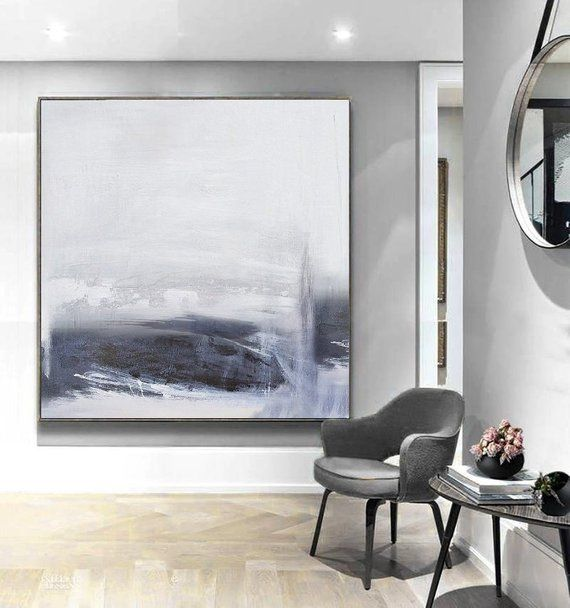 Large Abstract Sky Paintingabstract Sea Paintingsea Wall Etsy Minimalist Canvas Art Black And White Abstract Abstract Art Painting