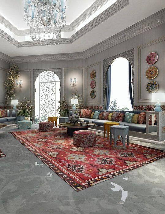Salon marocain avec un magnifique travail artisanal