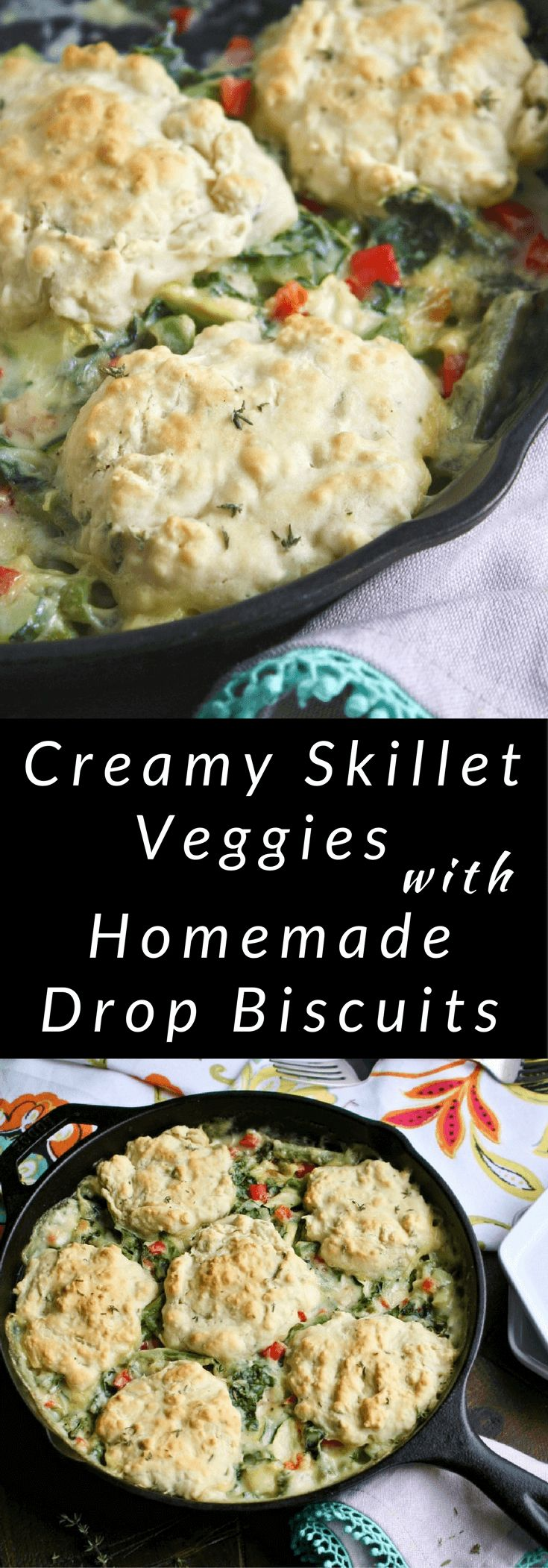 What a hearty, comforting meal! Try Creamy Skillet Veggies with Homemade Drop Biscuits!
