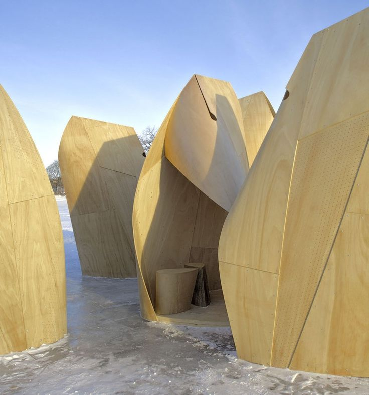 Winnipeg Skating Shelters / Patkau Architects #unfold #plywood #temporary (These are placed on the Red River for skaters. Cool, eh?)