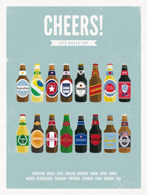 illustrated beer bottles for the world cup!: graphically pleasing, cute and beer! who wouldn't love this!