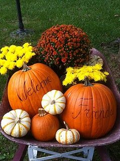 Filled wheelbarrow with pumpkins, gourds and mums
