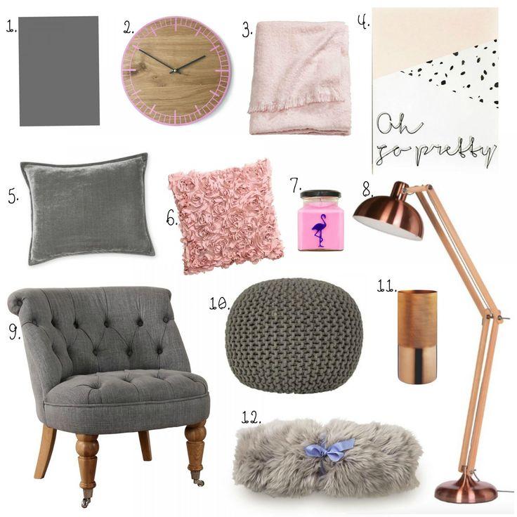 Living Room Interiors | Grey, Blush Pink & Copper | Copper ...