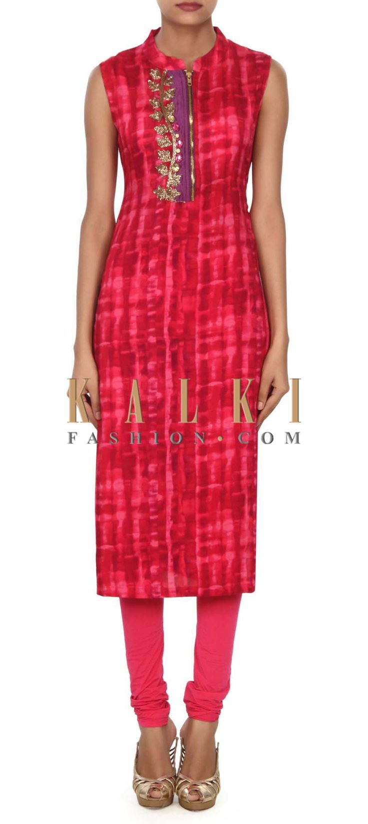 Buy this Pink and red shaded kurti enhanced in zardosi and stone only on Kalki