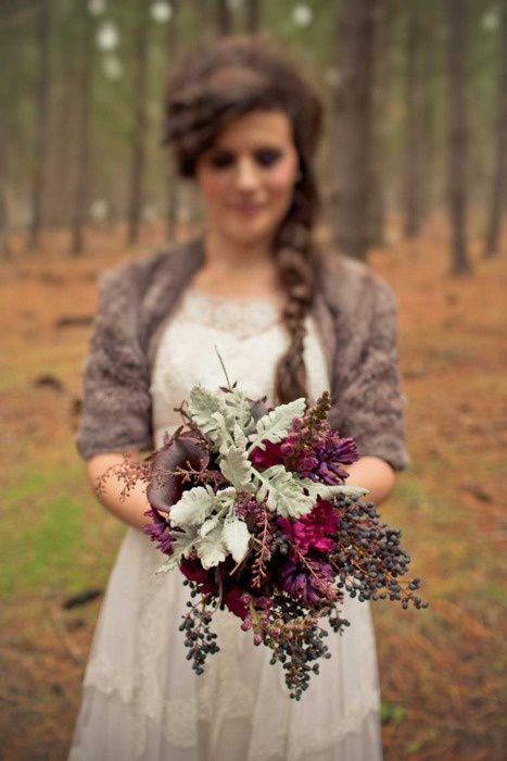 I love the idea of a sweater over the dress..and this bouquet is perfection