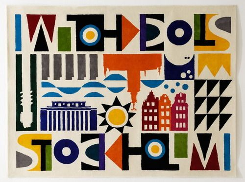 """""""Stockholm"""" carpet by Maria Dahlgren. The design show you some Stockholm buildings and surroundings."""