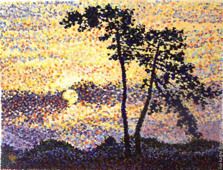 """Купить картина гуашь """"Пламенеющий закат"""" - тёмно-фиолетовый, вечереет, закат, закатное солнце, пуантилизм"""