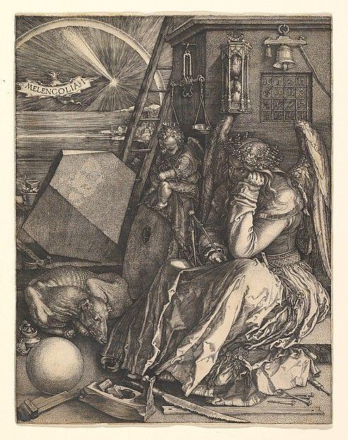 Melencolia I Artist: Albrecht Dürer (German, Nuremberg 1471–1528 Nuremberg) Date: 1514 Medium: Engraving Dimensions: Plate: 9 7/16 × 7 5/16 in. (24 × 18.5 cm) Classification: Prints Credit Line: Harris Brisbane Dick Fund, 1943