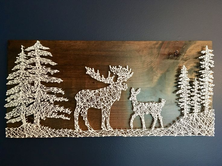 Moose and deer string art!  Made this for my husband for his birthday. He calls me deer and I call him moose. ❤️