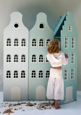 Wardrobe for kids, build as dutch houses. Soo cute.                                                                                                                                                     More