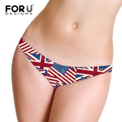 Summer Style Women's Thong Seamless Underwear Women G-String Briefs UK USA Flag Striped Pattern Sexy Women's Briefs Lingerie