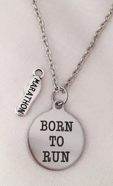 11.99$ Born to Run + (5K, 10K or Marathon) Running Necklace | Motivational Fitness Jewelry - Miss Fit Boutique