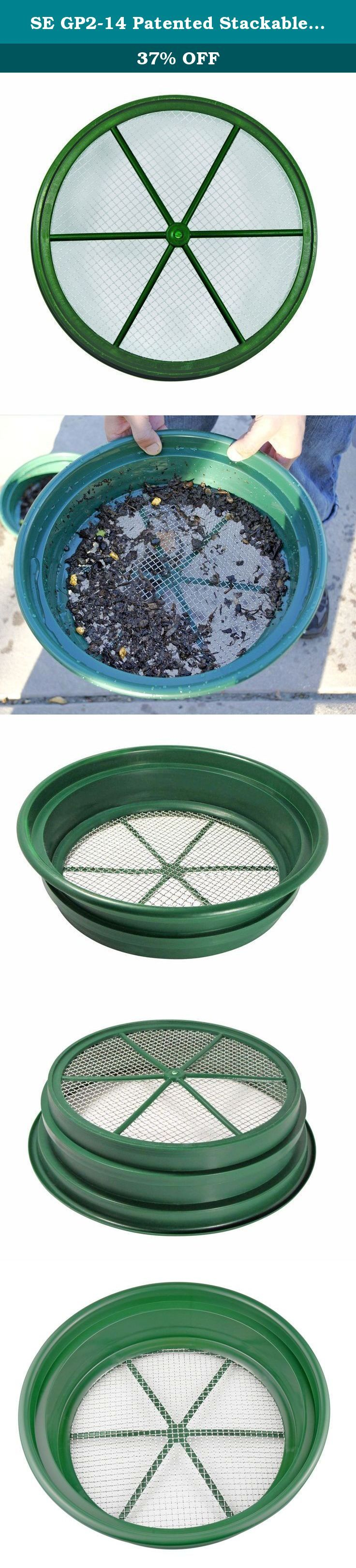 "SE GP2-14 Patented Stackable 13-1/4"" Sifting Pan, 1/4"" Mesh Screen. Use this Patented Stackable 13-¼"" Sifting Pan with ¼"" Mesh Size at home, at work, or on your next adventure! Why use our Sifting Pans (AKA classifiers/sieves)? • Classification is the most important step in gold recovery. • Screen off large, worthless gravel and rock. • Size your material to the proper dimensions of the gold you are expecting to recover. • Our high quality stainless steel wire mesh is both accurate and..."