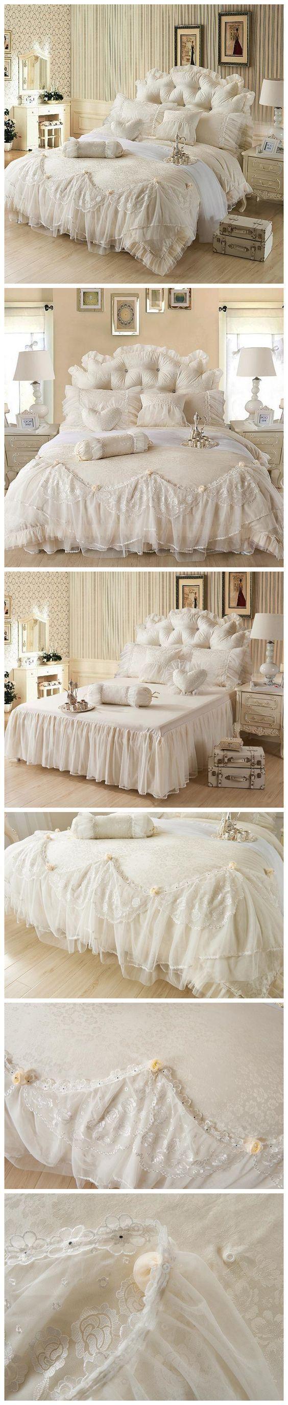 White Lace Ruffle Wedding Bedding Sets Queen Size Korean Princess Duvet Cover Sets Rose Comforter Sets 4 Piece