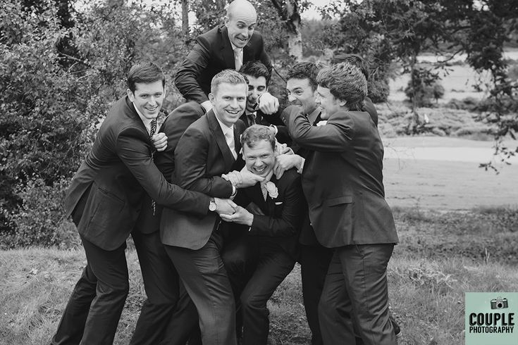 The lads mess about after the formalities of the day! Wedding photography at The Brooklodge Hotel by Couple Photography.