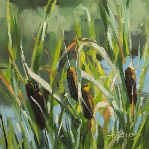 "Daily Paintworks - ""Cattails at Mary Kyer"" - Original Fine Art for Sale - © David Bates"