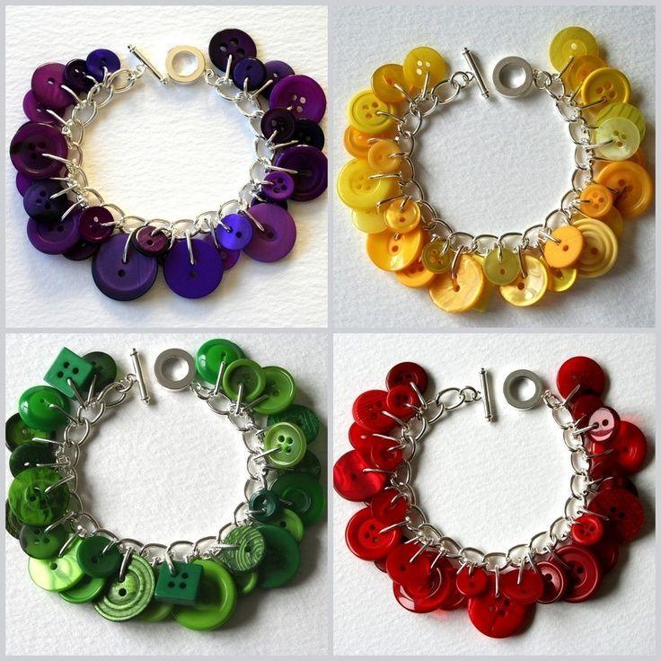 Pinterest Button Crafts   Button Bracelets from Mrs. Gibson's Atelier #jewelry #bracelets # ...
