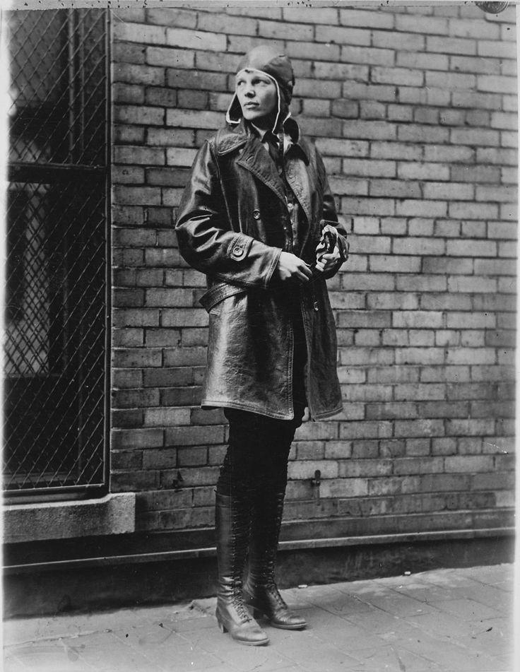 Amelia Earhart before her first transatlantic flight in 1928