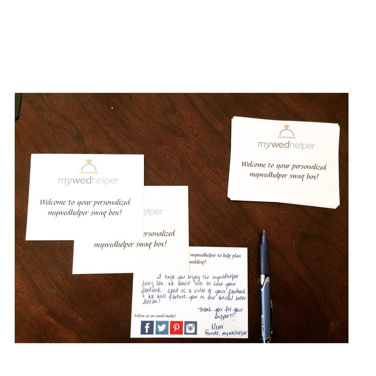 Handwriting notes to our brides receiving our swag boxes #valueourbrides #mywedhelper